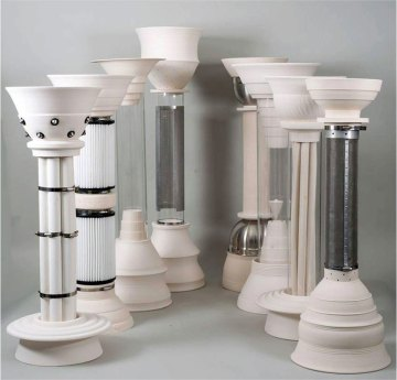 """porcelain, stainless steel, glass, 16""""x52""""x12"""", 2012"""