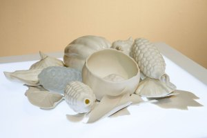 "Porcelain, 3D scanned and printed models, slip cast, pate de verre glass, 5 x 15dia"", 2014"