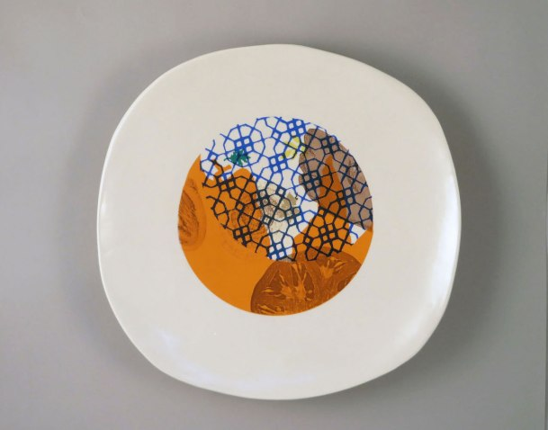 "Mid-range porcelain, slab and wheel off hump, laser, color sheet and digital and decals, 2 x 15 x 15"", 2014"