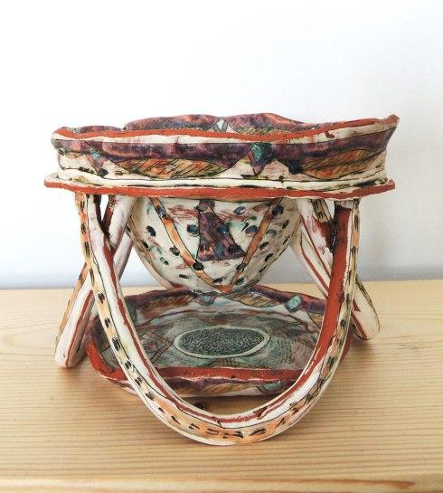 """2015, 8"""" x 5"""" x 6"""", cone 04 earthenware, slip, copper stain, glaze"""