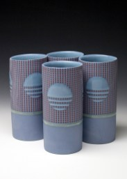 "porcelain & glaze with laser transfers, cone 10, 6"" x 3"""