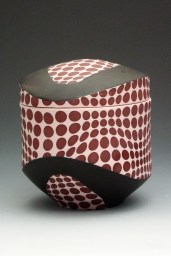 "porcelain & glaze with laser transfers, cone 10, 8"" x 7"" x 5"""