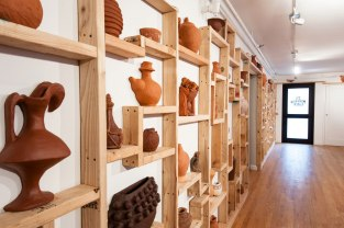 2012, 600 square foot installation in Metropolitan Gallery, Terracotta pots made from memory, dimensional lumber