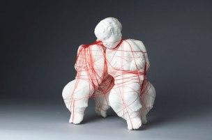 "14""x 11""x 7"", Clay, Thread, 2015"