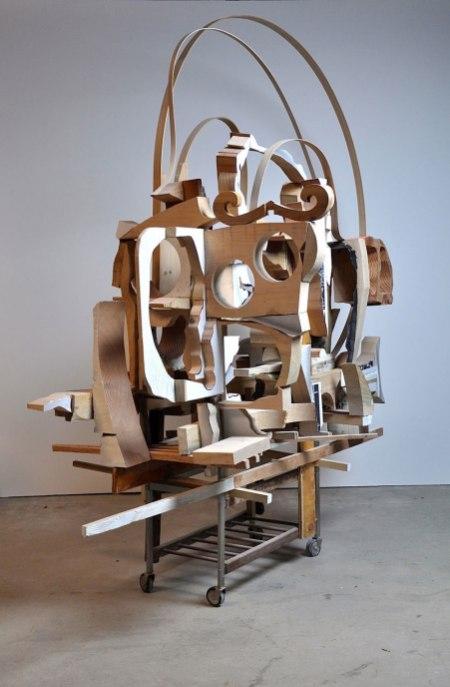 """98""""x83""""x48"""", wood, metal, clay, 2013"""