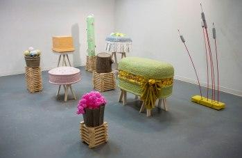 2011, Ceramic, wood, foam, fiberglass, found materials, Dimensions vary (Large green base 3' x 4' x 2')