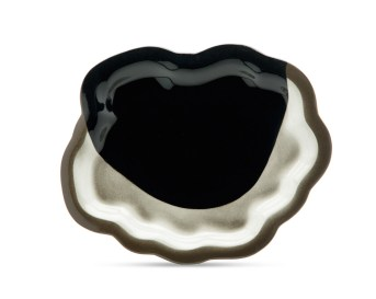 """cone 6, black Stoneware, slab constructed over a bisque ring mold, colored stain, 1 x 12 x 11"""""""