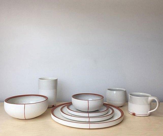 """Alex Watson, """"White Dinnerware Set with Red Stripe"""""""