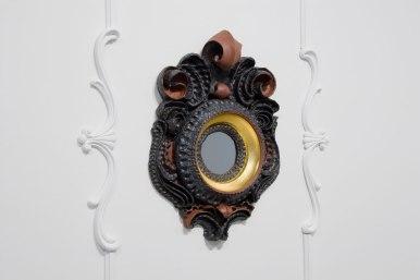 """{Frame}. Ceramic Frame, 30"""" x 26"""" x 6"""". Ceramic, glaze, plaster, paint, gold leaf, velvet backing. 2010."""