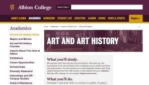 Albion College website screenshot