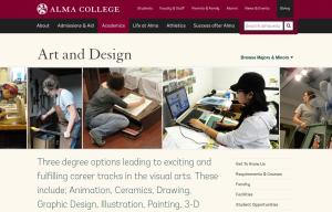 Alma College Fine Arts page screenshot