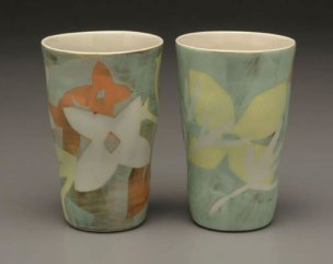 """Orange Mint Tumbler Pair, 5 ¾ """" x 3 ½ """" x 3 ½"""", Porcelain, Slip, Underglaze, Glaze, 2008"""