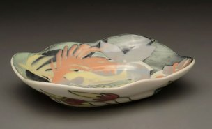 "Feathers and Flowers Platter, 2"" x 9"" x 6 ½"", Porcelain, Slip, Underglaze, Glaze, 2008"