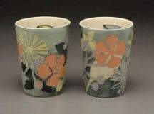 "Atomic Shapes Vases, 6 ¾ "" x 5"" x 5"", Porcelain, Slip, Underglaze, Glaze, 2008"