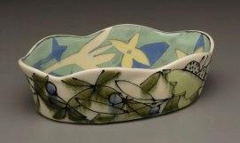 "Ellipse Casserole, 2 ½"" x 9"" x 6"", Porcelain, Slip, Underglaze, Glaze, 2008"