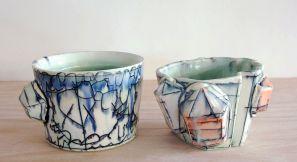 2013, Porcelain, Underglaze, Mason Stain, Cone 6, 4x3.5x3.5 and 3x4x4