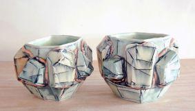 2013, Porcelain, Underglaze, Mason Stain, Cone 6, 3.5x4x4