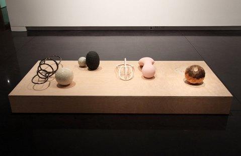 """2014, ceramic, glaze, luster, wood, 84 x 36 x 7"""""""