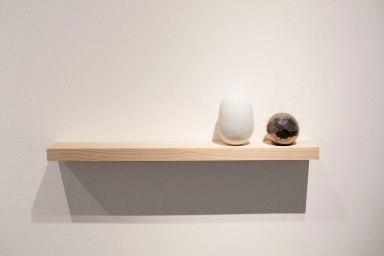 """2014, ceramic, glaze, luster, wood, 32 x 5.5 x 1.5"""""""