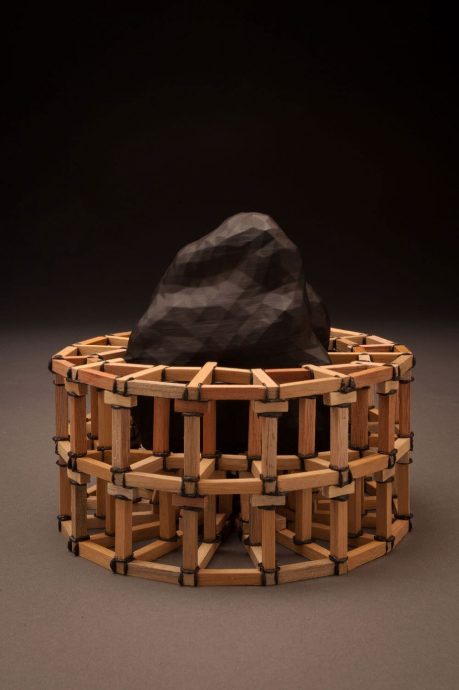 """3D printed asteroid model from NASA scans, ABS plastic, wood, epoxy, 6"""" x 6"""" x 6"""", 2016"""