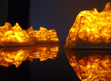Fire Mountains, Installation, porcelain and light-bulbs, at Svensk Form, 2003, Stockholm, Sweden