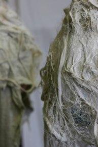 Whet, chandelier, balloon, wig, stoneware, 2011, NCECA, Meyerhoff