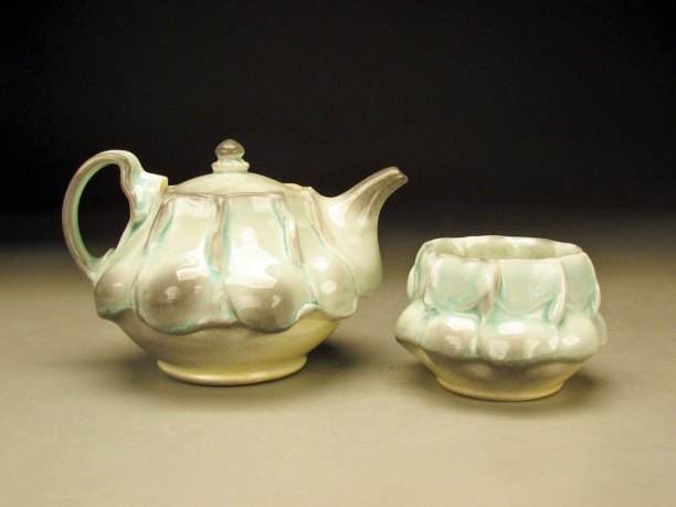 Porcelain, Soda fired with Celadon glaze
