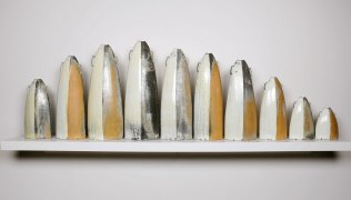 "2015, Soda Fired Porcelain, Kaolin Slip and Glaze, Cone 10, Tallest 26"" x 7"" x 4"""