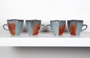 "2015, Soda Fired Porcelain, Kaolin Slip and Glaze, Cone 10, Each 4.5"" x 3"" x 3"""