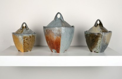 "2015, Soda Fired Porcelain, Kaolin Slips and Glazes, Cone 10, Tallest 8"" x 5.5"" x 5.5"""