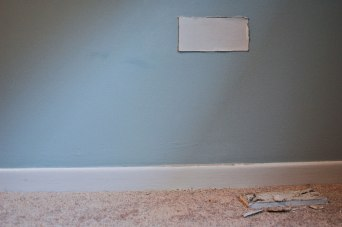 Because I'll carry you everywhere, Removed drywall from my studio embedded in the bedroom wall I grew up in, removed wall section from my bedroom, studio (pictured drywall in bedroom, still taken from video), 2011-ongoing