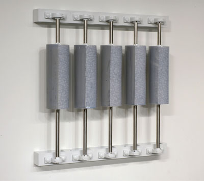 "38 x 38 x 8"", porcelain, inlay, glaze, steel, 2006"
