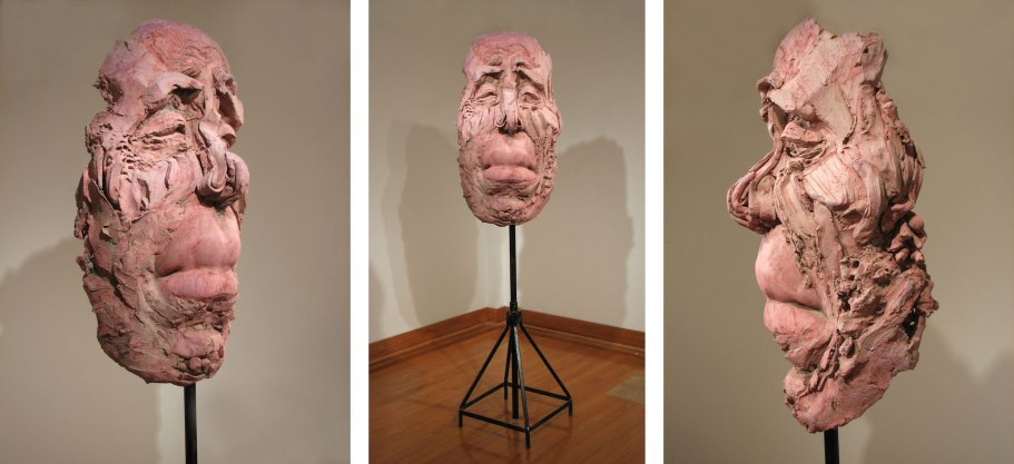 "Face #1, 2013, ceramic and oxide stain, 40""x18""x16"""