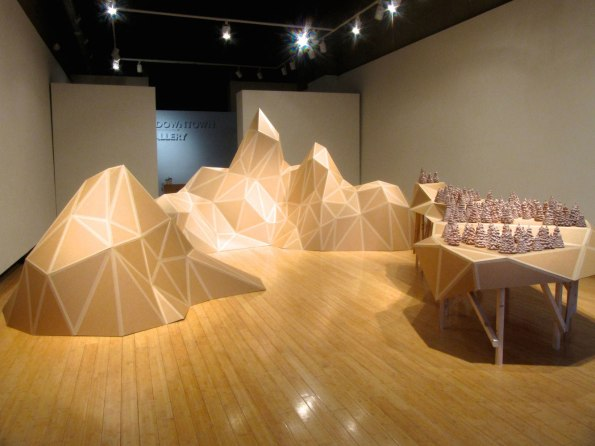 Panorama of Desire, Unfired earthenware clay, cardboard, carton tape, wood, Installation view, 2013