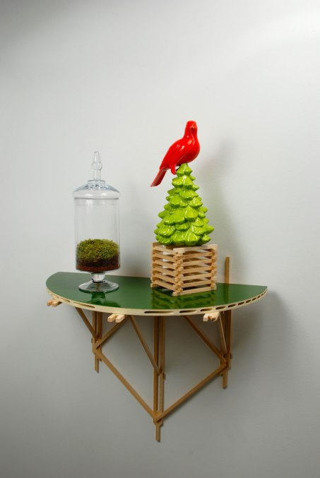 Dis•location, Cast earthenware with low fire glaze, earth, wood, moss, glass