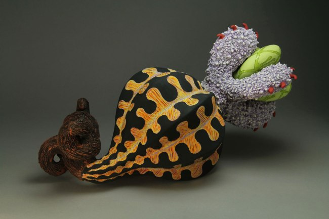 """9"""" x 17"""" x 9"""", Terracotta, handbuilt and press molded and slip cast with underglaze and glazes"""