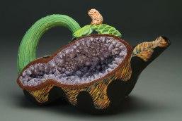 "6"" x 10"" x 6"", Terracotta, handbuilt, press molded and slip cast with underglazes and glazes"