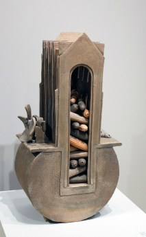 "2007, Unglazed hand-built ceramics, fired to cone 1 in reduction, 30""x 12""x8"""