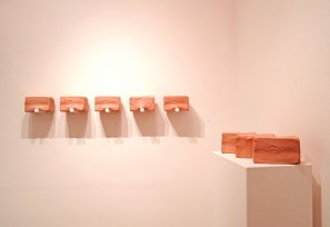 installation view, 2015, Slip Cast Ceramic, Stain, Wax, Paint, Dimensions Variable