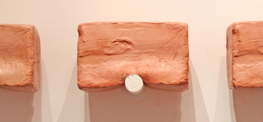 "detail, 2015, Slip Cast Ceramic, Stain, Wax, Paint, 7"" x 60"""