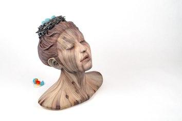 Ceramic, acrylic, gold leaf, resin, found object, 33cm x 28cm x 30cm, 2016