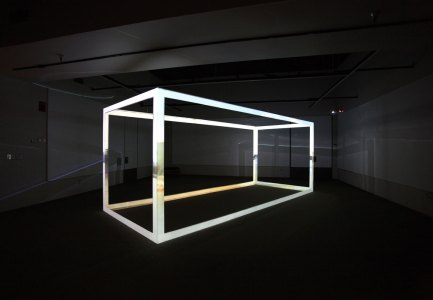 Vessel, custom projection screen fabricated in same dimensions as a 20 ft. shipping container, mapped video projection, McGrath Gallery, Bellarmine University, Louisville, KY