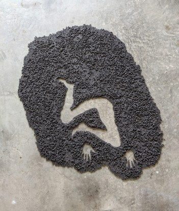 """This is a continuation of my """"Conversations"""" series of works. I started using black clay in 2019 as a way to create a space for people who have survived mentally and physically abusive relationships to be able to talk about their experiences. The black clay, along with my choice to use it for three years, represents the three years I was in a mentally abusive relationship with a coal miner. Often the victims are seen as weak and they could 'simply' walk away from their abuser. In order to get black clay, I have to fire it. It must transform from its raw brown state in the heat of the firing to come out changed and stronger. This is much like what people must go through to get out of their situations."""
