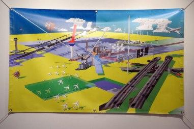 Supermodern Landscape No. 01, vinyl, nylon rope, h36 x w60 in., 2013