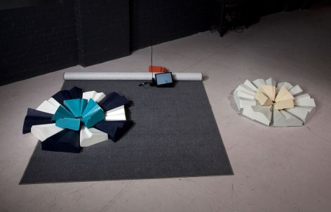 "8"" X 96"" X 108"", slip cast ceramics, carpeting, DVD animation, 2010, photo: Ken Yanoviak"