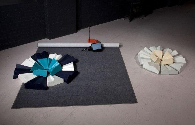 "8"" X 96"" X 108"", slip cast ceramics, carpeting, DVD animation, 2010, photo: Ken Yanoviak"