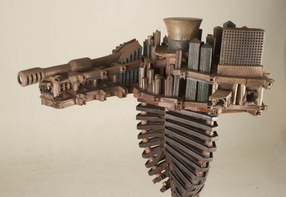 """2012, Wood Fired Ceramic and Steel Stands 7ft tall, Ceramic Element, 48"""" x 36"""" x 32"""""""