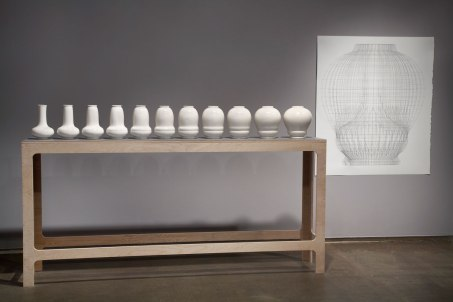 "2013, Slip Cast Porcelain, graphite on vellum, drawing 60"" x 48"" vessels each 10"" x 6"" photo credit: Peter Lee and Northern Clay Center"