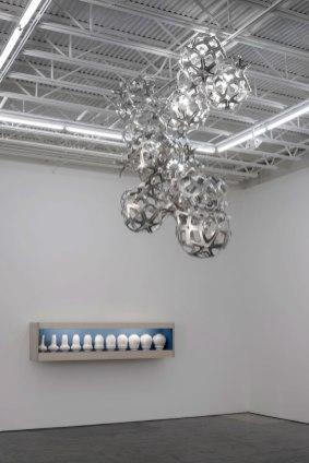 2014, water jet cut aluminum, rivets, slip cast porcelain, plywood, fluorescent light, photo credit: none