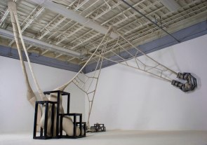Ceramic, unfired clay, wood, wire, glaze and paint, 13' x 16' x 10', 2011